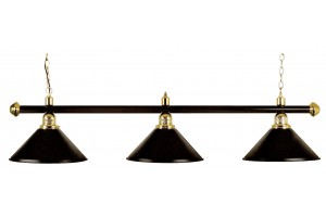 Billiard lamp, black with three black shades, 148 cm