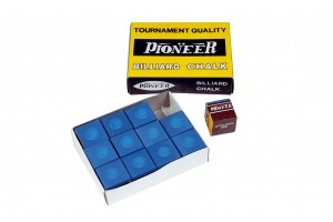 Pioneer billiard chalk, 12 pieces, blue
