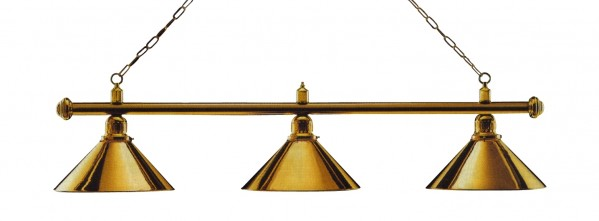 Photo Billiard lamp, brass-colored with three brass-colored shades, 148 cm BEL.WIN.1670.02-01