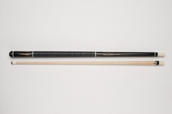 Photo Demon DF1-002 pool billiard cue, two-piece, with quality leather tip, solid wooden shaft and irish linen grip incl. joint protectors BI080QUE044.01-01
